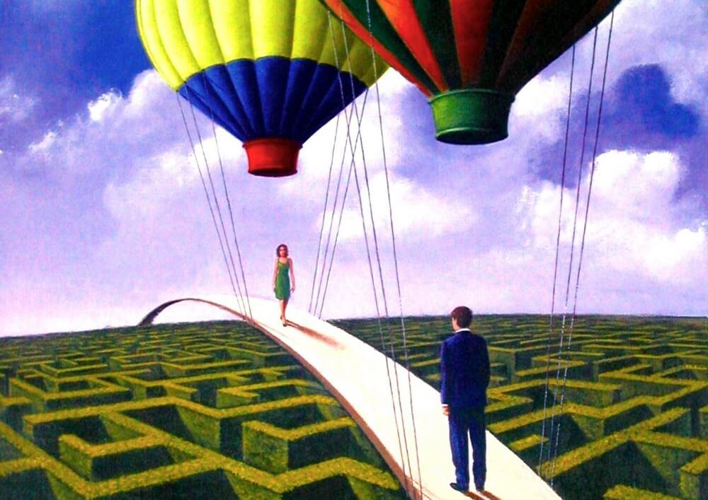personas suspendidas en puente con globos