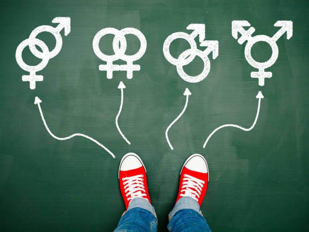Pies con flechas hacia diferentes orientaciones sexuales