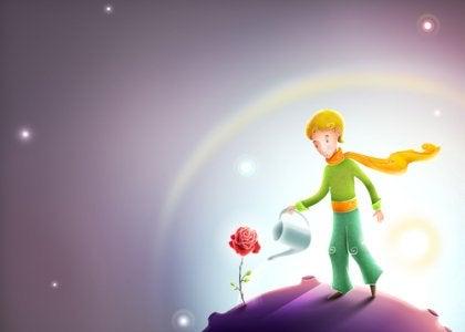 Principito regando una rosa