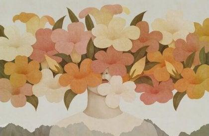 rostro con hilera de flores