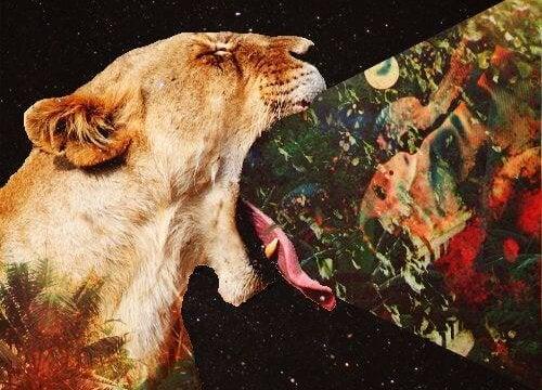 tigre que emite naturaleza por la boca