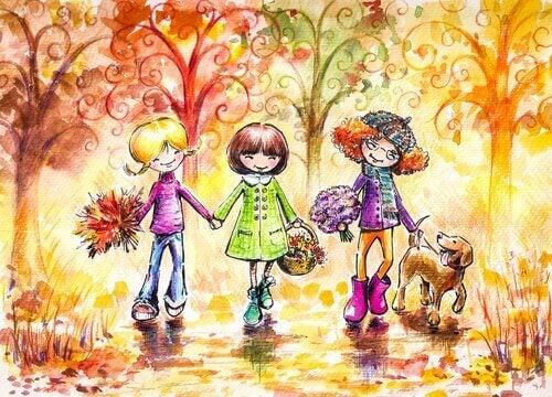 Amigas paseando juntas con flores