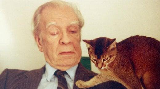 Borges con su gato