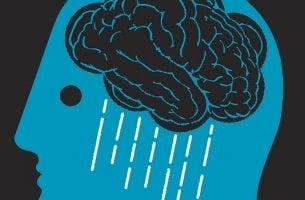 Cerebro con lluvia como símbolo de los sueños de las personas con depresión