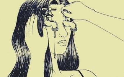 chica con grifos en los ojos
