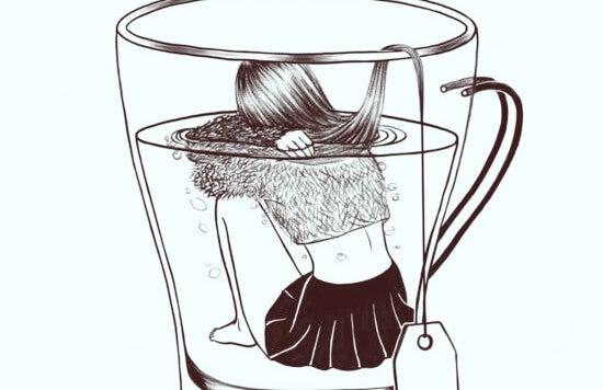 chica con ansiedad en el interior de una taza de infusión
