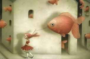 chica llevando pez que representa el arte de controlar a los demás