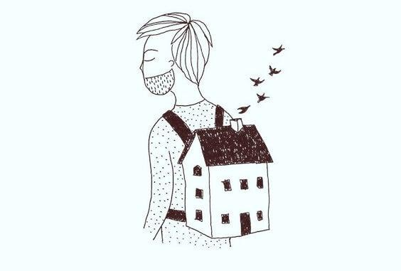 chico con casa a la espalda pensando en un amor imposible