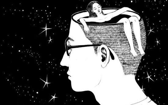 chico con mujer bañándose en su cabeza sufriendo por un amor imposible