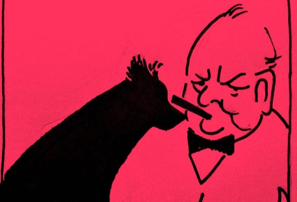 Churchill y su perro negro