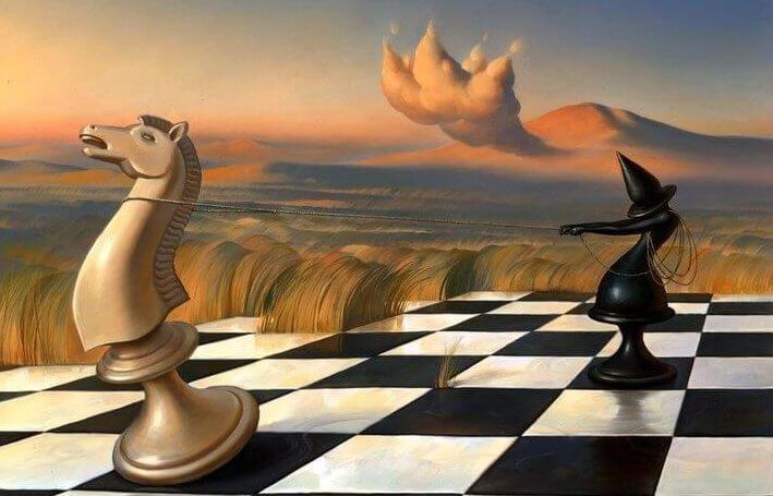 Fichas de ajedrez para representar una de las frases de jorge luis borges