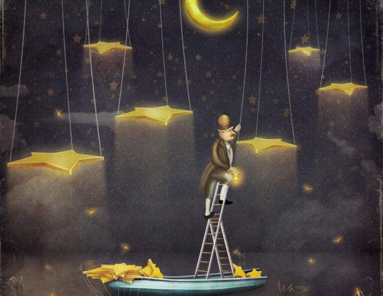 Hombre haciendo su rutina de subir a las estrellas