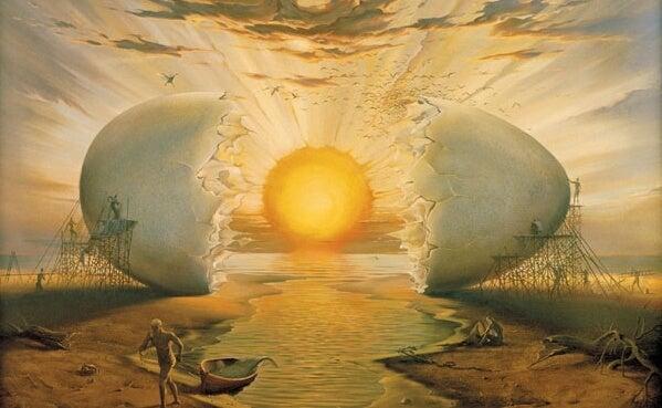 huevo representando amanecer y las frases de Borges