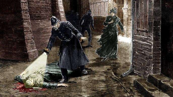 ilustración de policías buscando a los monstruos que cometen crímenes