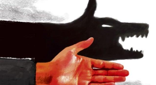 mano con sombra de animal de las personas autoritarias