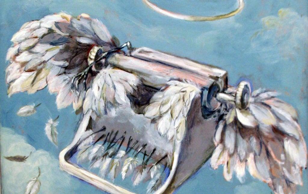 máquina de escribir con alas