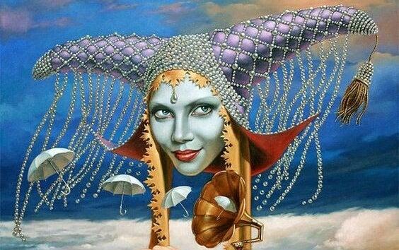mujer arlequin