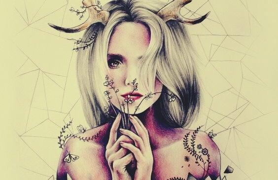 mujer con cuernos en la cabeza que se niega a ser dócil