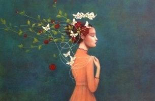 mujer con hilos y flores representando cuando estamos cansados