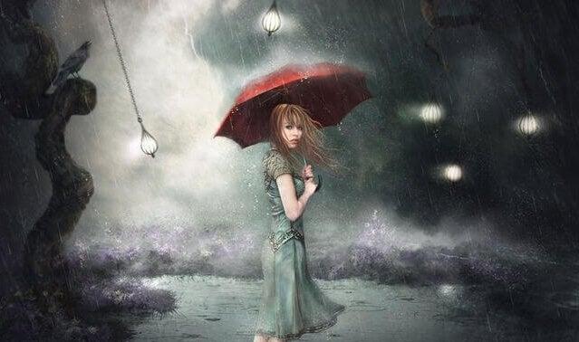 mujer con paraguas huyendo de las deudas relacionales