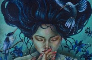 mujer con pelo azul sufriendo las deudas relacionales