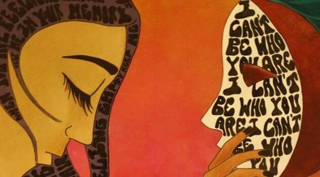 mujer frente a otra mujer representando los poemas de Fernando Pessoa