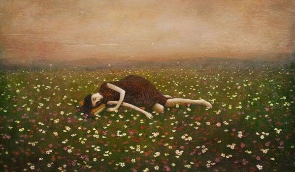 Mujer tumbada en su zona de confort