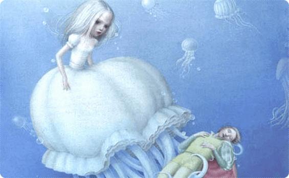 Niña en una medusa para controlar a un hombre