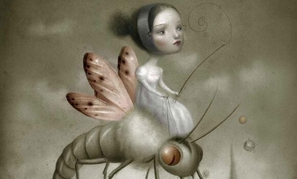 Niña montada en un insecto