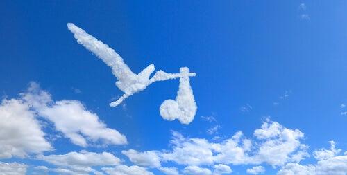 Nube con forma de cigüeña con un bebé
