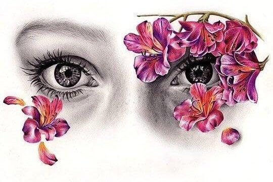 ojos con flores que representan la mirada dócil