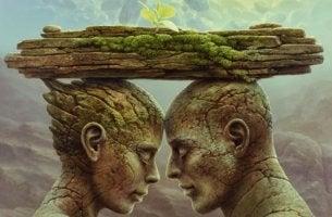 pareja blajo bloque de piedra donde se alza la flor de la confianza