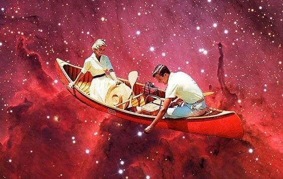 pareja en barca sobre una nebulosa