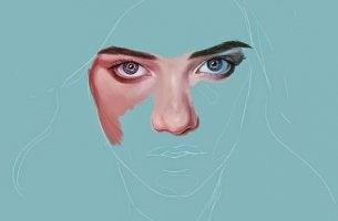 rostro de mujer que sufre depresión