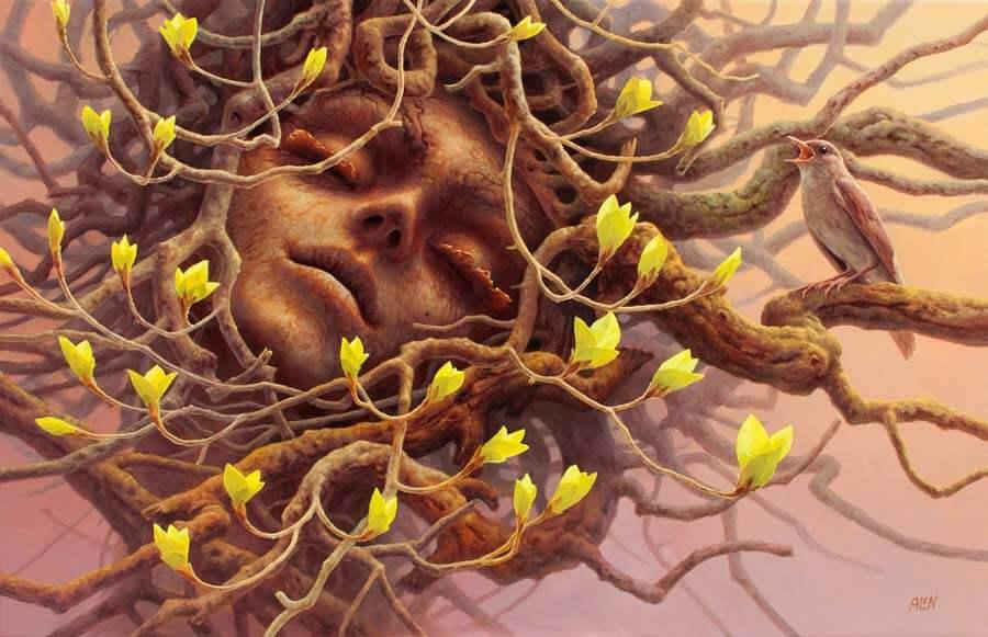 rostro entre ramas de arbol representando la reserva cognitiva