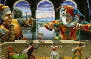 bufón manejando marionetas con afirmaciones