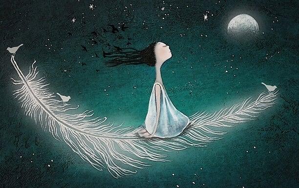chica volando sobre una pluma feliz por liberarse de la necesidad de ser amados