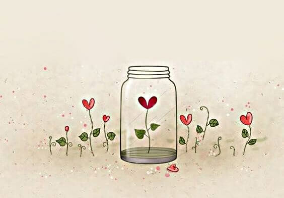 heart flower in jar