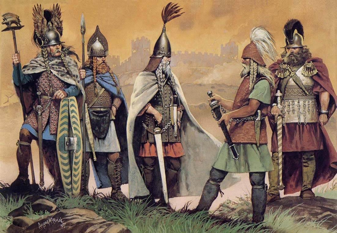 Grupo de guerreros celtas