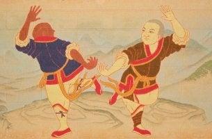 Dibujo de hombres haciendo artes marciales