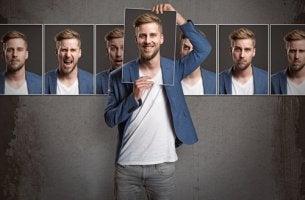Hombre con diferentes cara para representar la personalidad
