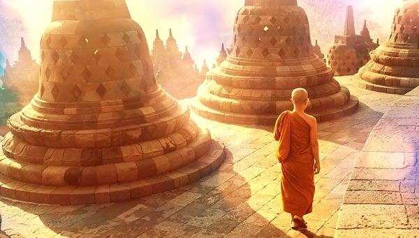 hombre en el Tíbet, donde viven los líderes espirituales