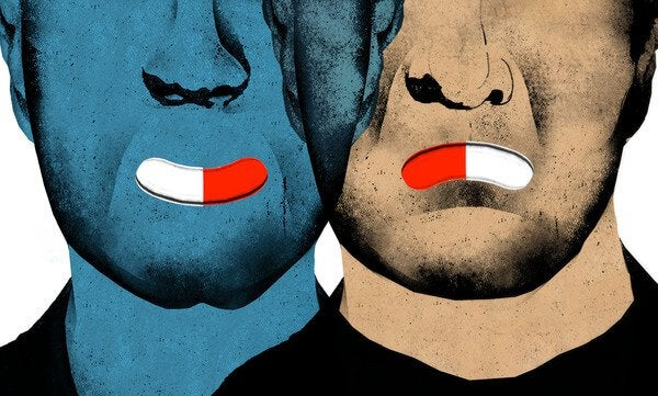 Hombres con fármacos en la boca