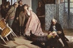 El cadaver del joven Werther es encontrado por su familia como ejemplo del efecto Werther