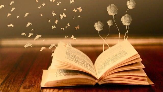 Libro del que salen flores y mariposas