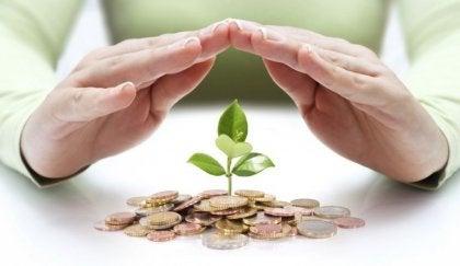 Mano sobre hoja y dinero representando la necesidad de cambiar de trabajo