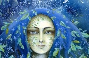 mujer con el cabello azul reflexionando en su dignidad