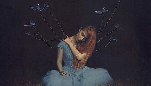 mujer de la que salen hilos con mariposas representando el tómate tu tiempo