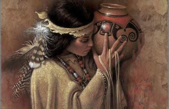 nativa evocando los proverbios de los indios norteamericanos