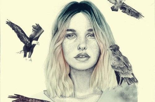 Mujer rodeada de pájaros representando las frases de Eduardo Galeano